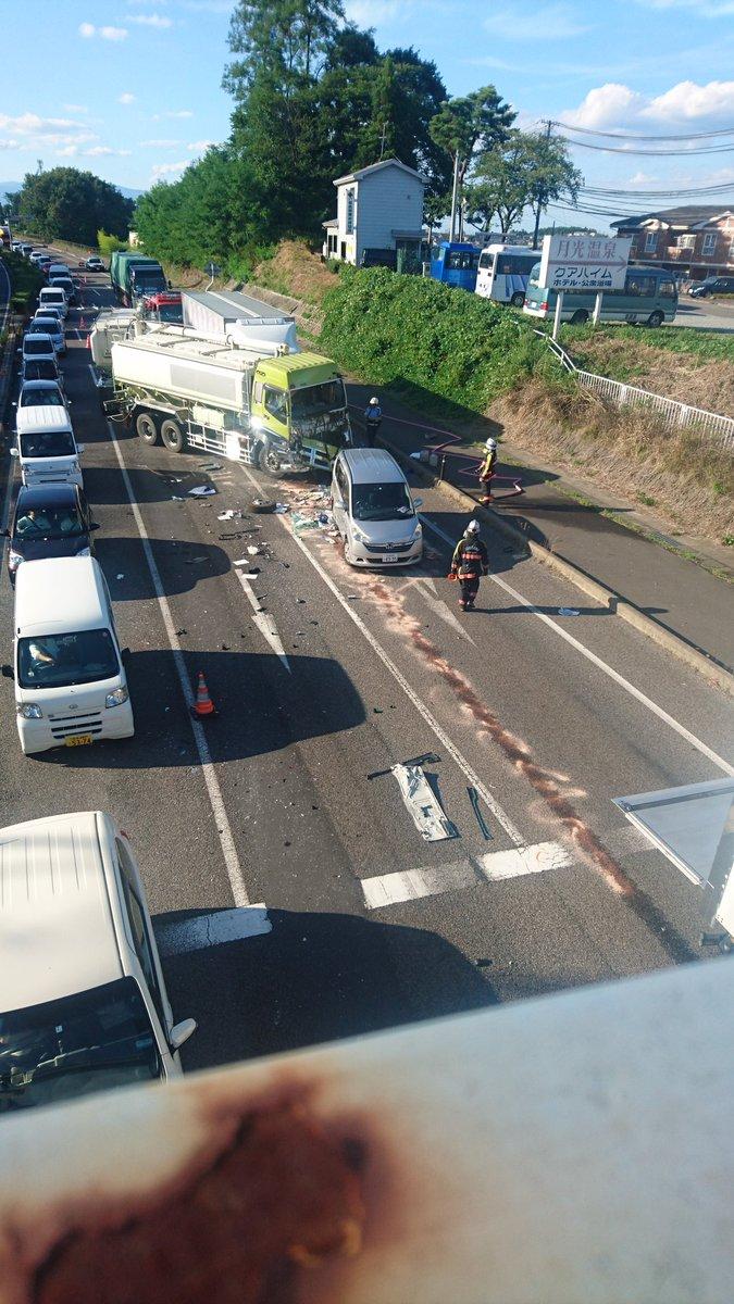 郡山市安積町の国道4号バイパスで事故の現場の画像