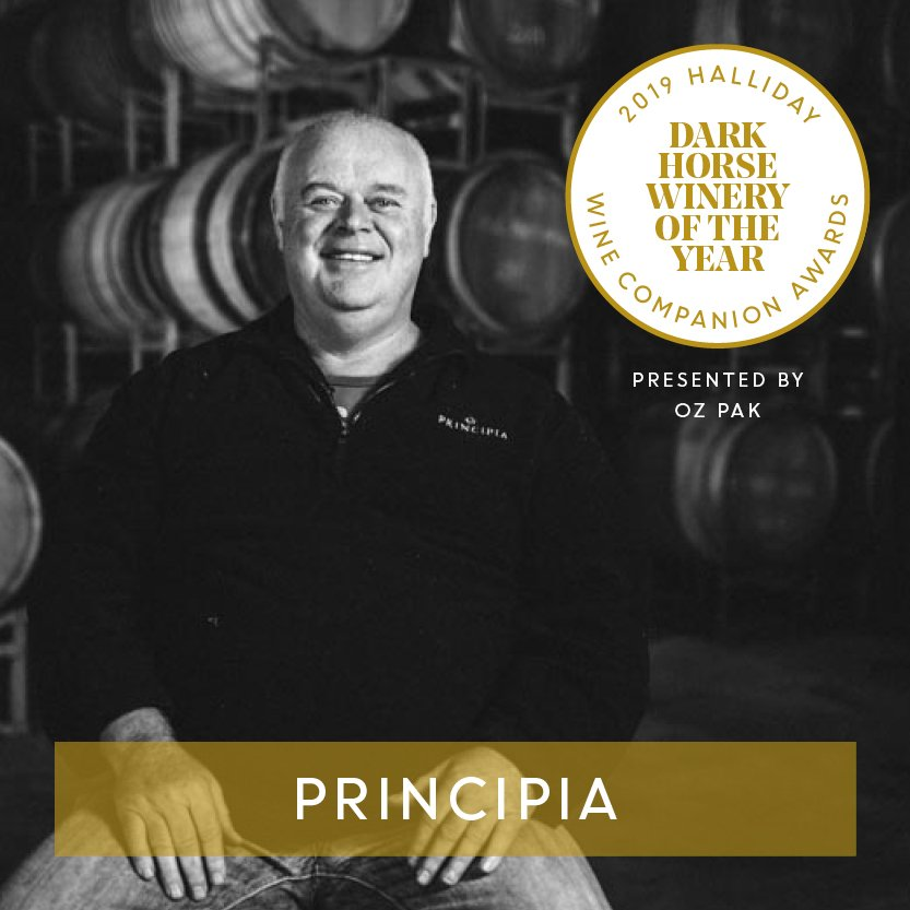 Principia is named Dark Horse of the Year at the 2019 Halliday Wine Companion Awards, presented by Ozpak. #hallidaywinecompanionawards2019 #jameshalliday #hallidaywinecompanion2019 #winecompanion #wineawards #topaustralianwines #principiawines #ozpack