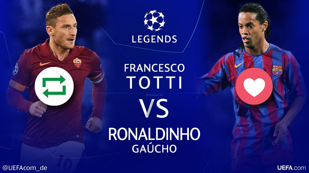 #UCL Legends 🙌🎉⚽️  🔁 = Francesco @Totti 🇮🇹 ❤ = @10Ronaldinho 🇧🇷  #Throwback @OfficialASRoma #Barça @acmilan