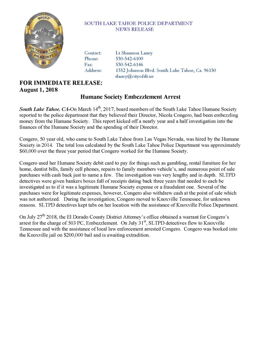 South Lake Tahoe PD on Twitter: