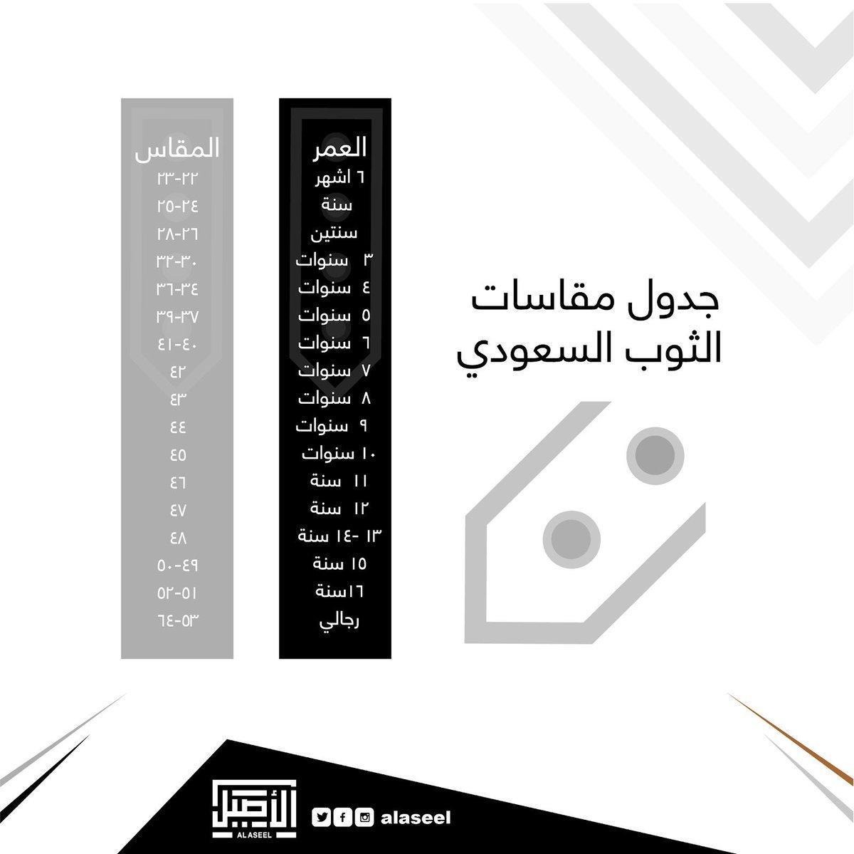 ثوب الأصيل En Twitter جدول مقاسات الثوب السعودي الأصيل