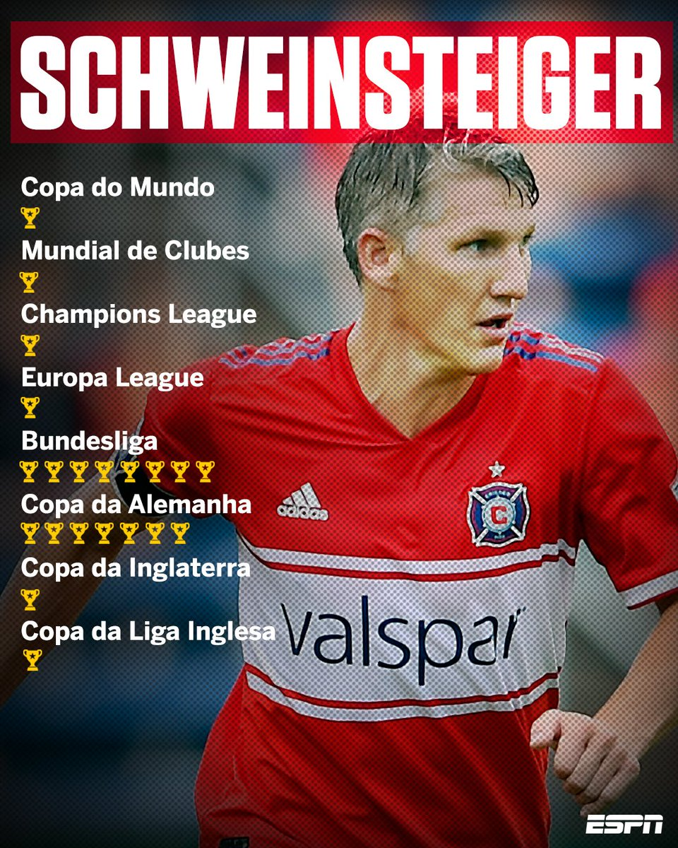 O alemão Bastian Schweinsteiger completa hoje 34 anos de idade. 🎉🎂  Atualmente no Chicago 99fb3ed1301b6