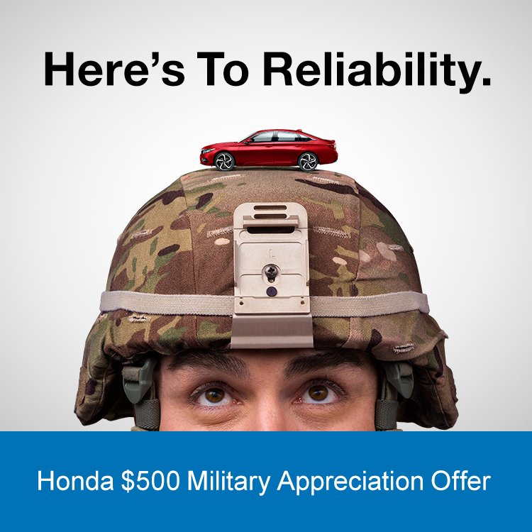 U.S. Military Can Save $500 On A New Honda. For More Information, Visit  Https://honda.us/military Pic.twitter.com/UJhw369id9