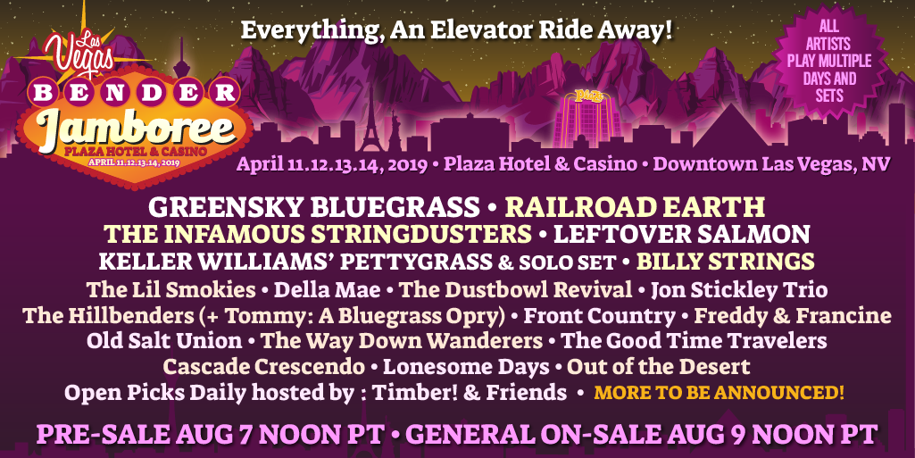 #VivaLasVegas! Were pumped to be a part of the 2019 @BenderJamboree! Stacked lineup with @campgreensky , @RailroadEarth , @stringdusters, @LeftoverSalmon and many more. Grab the details at benderjamboree.com