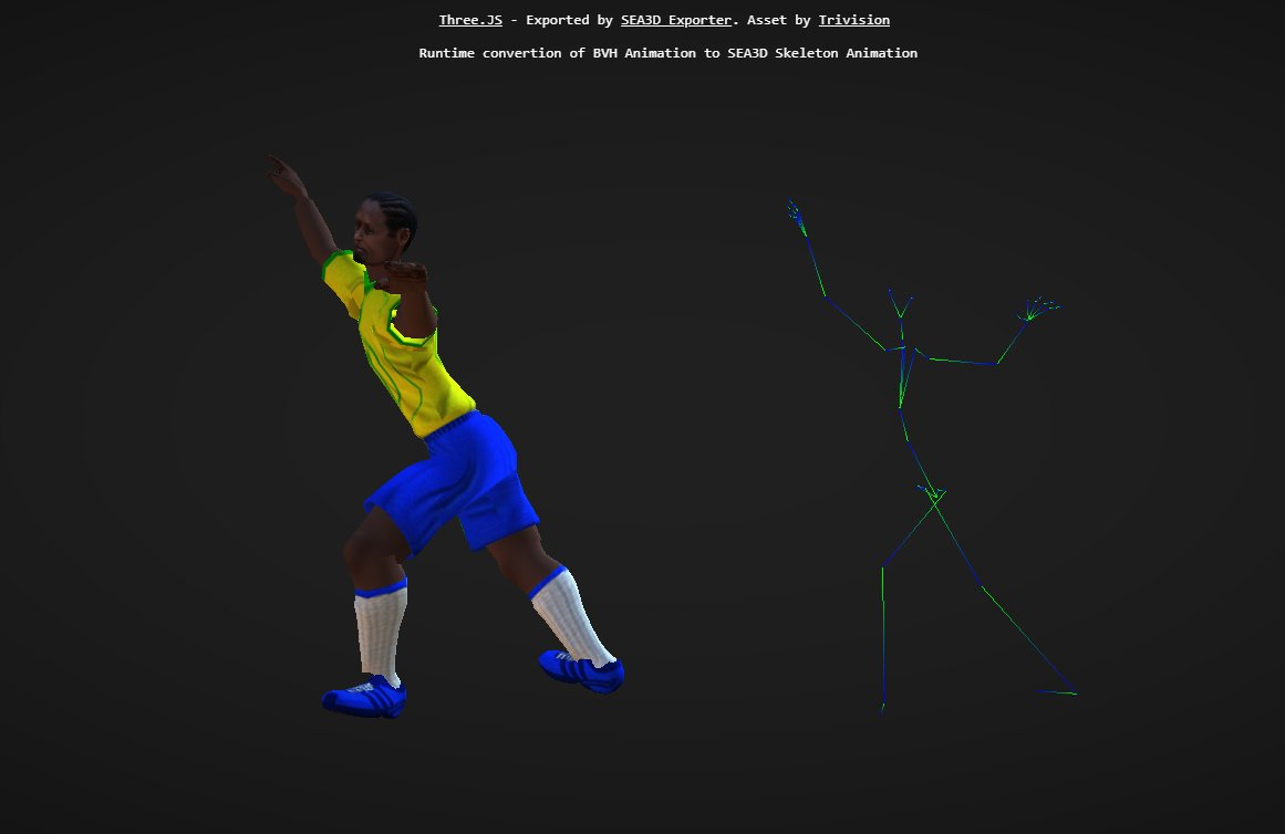"""Animation Retargeting sea3d on twitter: """"bvh animation to sea3d character"""