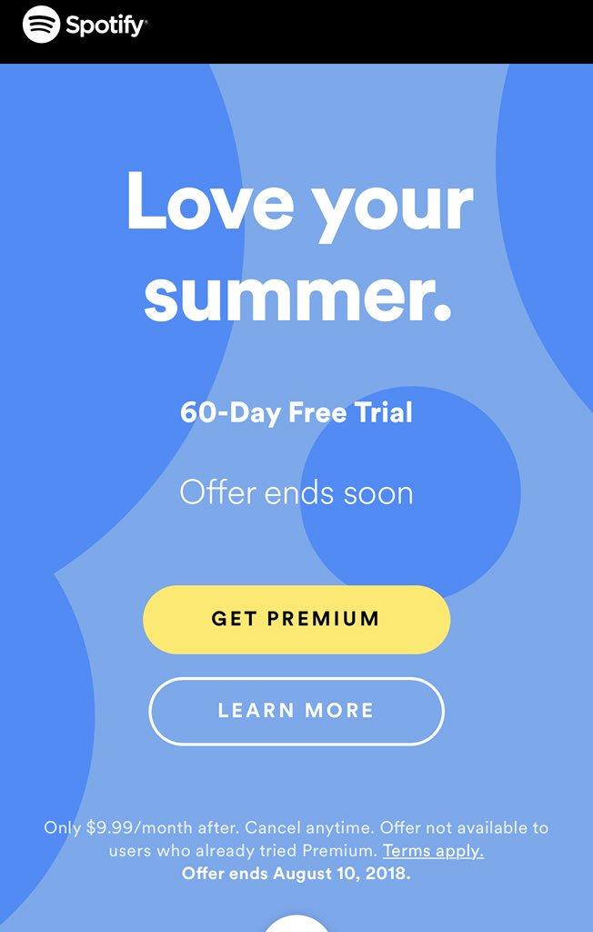 spotify premium 60 day trial
