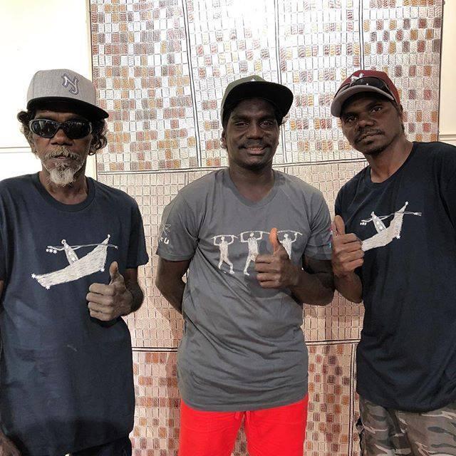 Wanapa, Lenny and Nambadj modelling new staff Tshirts.#tshirts #yolngupower #contemporaryart #modelling https://ift.tt/2v9ZmpVpic.twitter.com/fQ4qLGnsG2