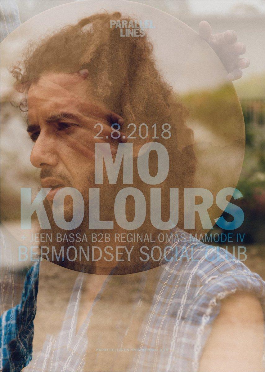 Stage times for TONIGHT at @BermoSocialClub  8.30pm Jeen Bassa b2b Reginald Omas Mamode IV 9.30pm @MoKolours  Tickets on the door 👊 #mokolours https://t.co/fRZNLdP6HY