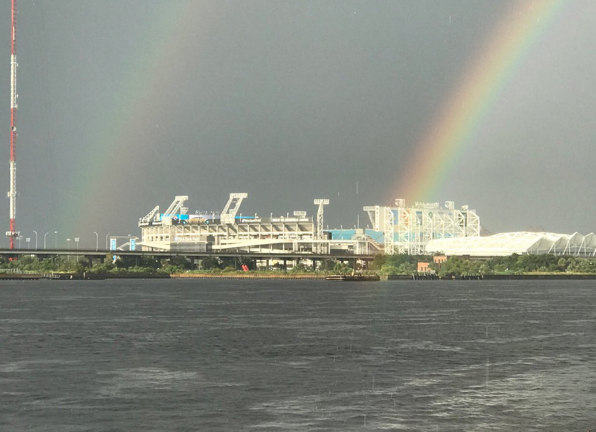A Double Rainbow Stretched Over The Jaguars Stadium Last Night! Might Mean  Some Good Fortune For This Season, Yes? #jacksonville #jaguars #igersjax ...