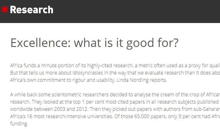 Great piece by @ResearchAfrica on @IDRC_CRDI @SGCIAfrica #researchexcellence workshop @go2uj. Insights from scholars and practitioners in Africa &amp; around the globe: rethinking quality measures &amp; funding data, finding new approaches &amp; tools, etc.  https://www. researchresearch.com/news/article/? articleId=137635 &nbsp; … <br>http://pic.twitter.com/uTuncWb6cz