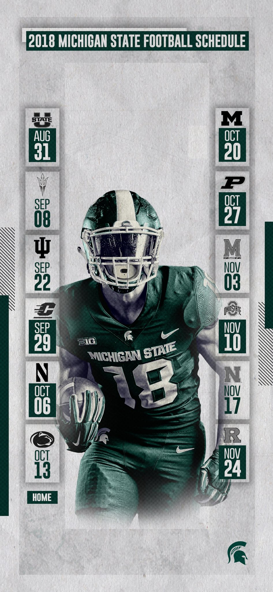 Michigan state football on twitter 2018 football schedule lock screen wallpapers for the - Michigan state football backgrounds ...