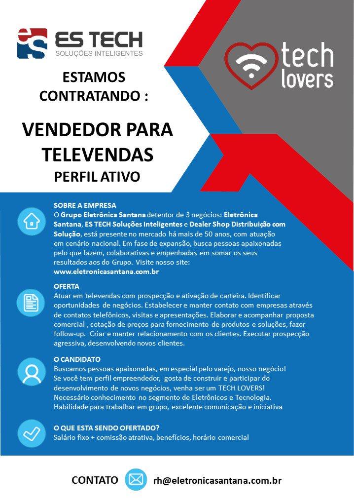 Estamos contratando: Vendedor para Televendas!  Se você se encaixa no perfil buscado e deseja juntar-se ao nosso time, envie já o seu currículo para rh@eletronicasantana.com.br! https://t.co/tO7TFffPwf