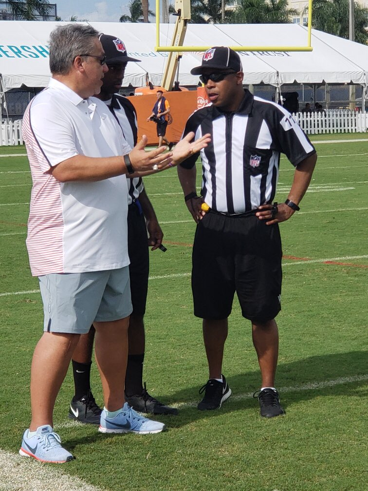 On the field today @MiamiDolphins training camp visiting our officials, as well as Dolphins coaches & staff
