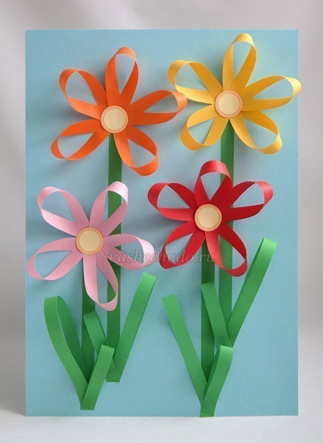Аппликация на открытке цветы, маши