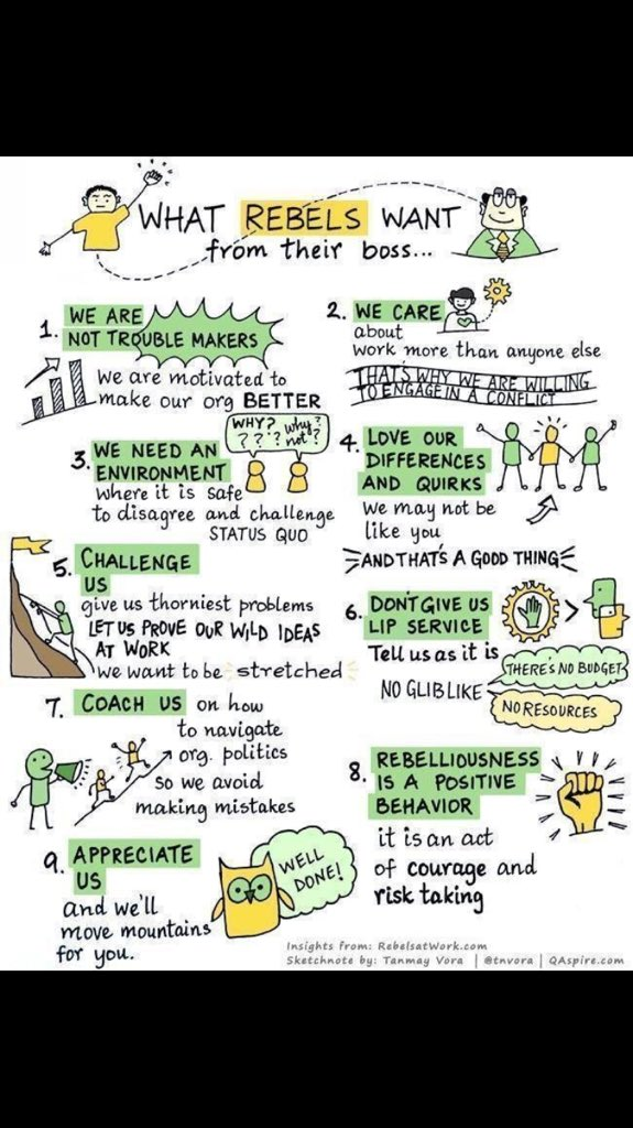 I always like it when this graphic does the rounds, puts a bit of context to us defiant ones! It can't be everyone, but businesses need a sprinkling of it #businessrebels #transformation #culture https://t.co/3OmUR6v1rZ