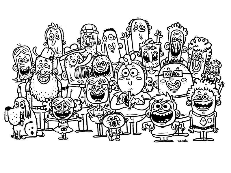 Пионер, смешная картинка карандашом много человек
