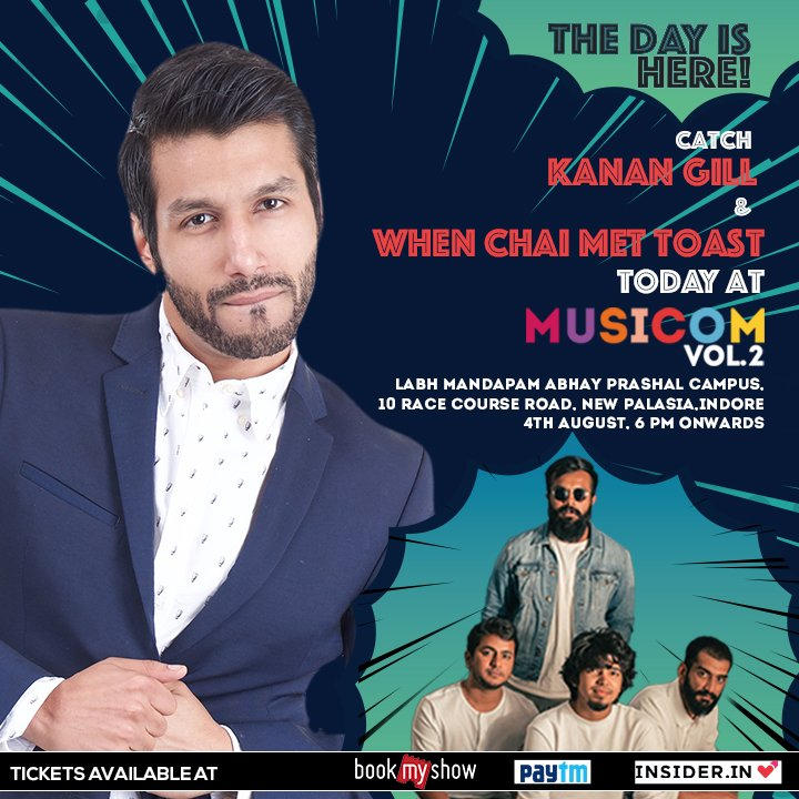 #Indore, prep up for #Musicom with the entertaining @KananGill and #WhenChaiMetToast band happening today at Labh Mandapam, Abhay Prashal Campus, Indore, Madhya Pradesh. Book now at https://in.bookmyshow.com/events/musicom/ET00078656 … https://insider.in/red-live-musicom-july21-kanan-gill-2018/event … https://paytm.com/events/delhi/comedy/red-live-musicom-ft-kanan-gill-and-when-chai-met-toast/170904 … … #RedLive #BajaateRahopic.twitter.com/4DJS0lLPfn