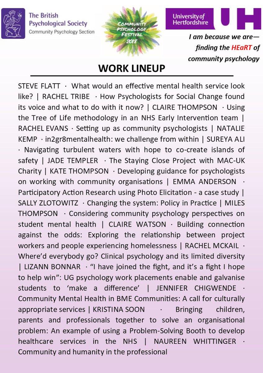 Community Psychology On Twitter Comm Psych Festival 2018 Programme