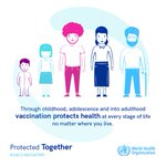 Vaccination protects health at every stage of life, no matter where you live.   Let's be Protected Together.   #VaccinesWork.