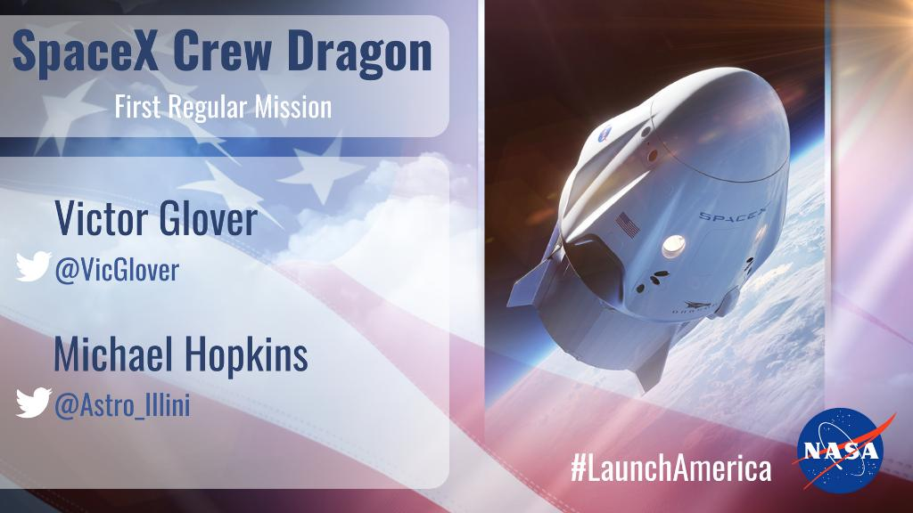 The first regular mission of @SpaceX's #CrewDragon spacecraft will carry @VicGlover & @Astro_Illini to the @Space_Station where they will live & work before returning home to Earth: https://t.co/HHS69SwXub https://t.co/LwYIoJIohq
