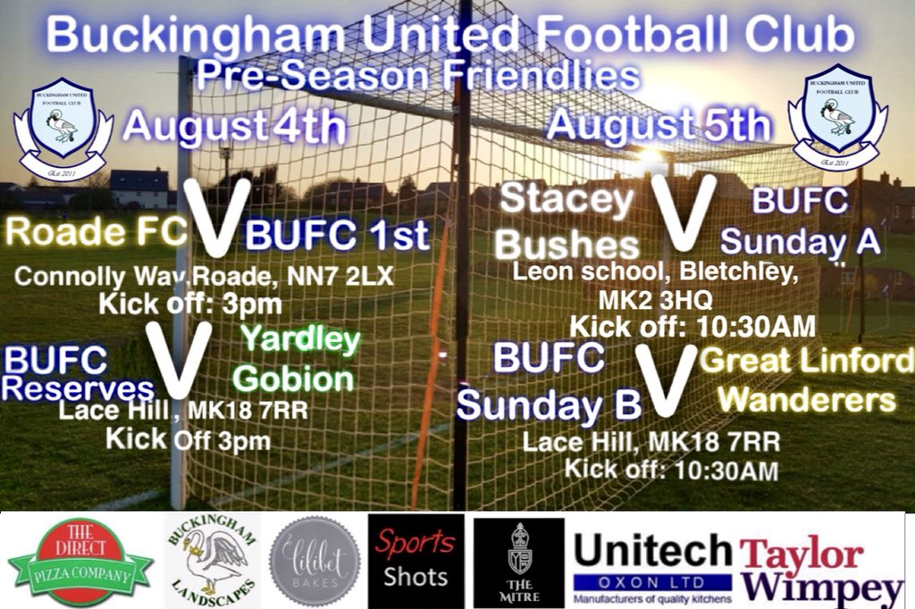 Buckingham United Fc On Twitter This Weekends Fixtures