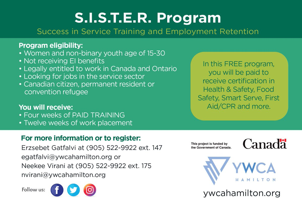 Ywca Hamilton On Twitter This Free Program Includes Being Paid To