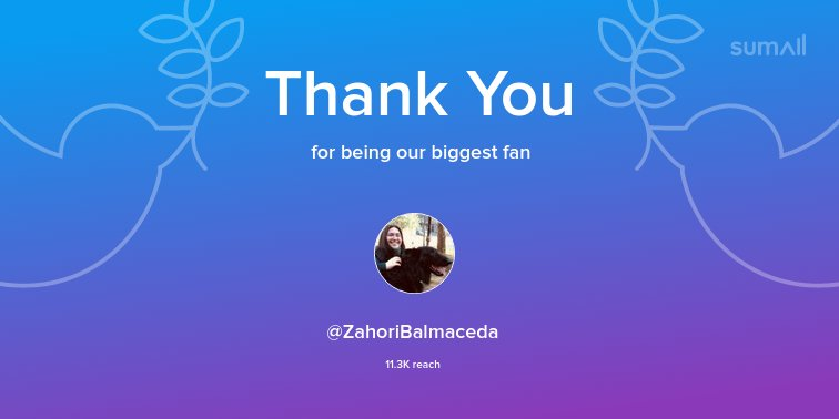 Our biggest fans this week: @ZahoriBalmaceda. Thank you! via sumall.com/thankyou?utm_s…