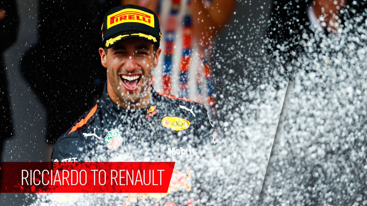 Wow! @danielricciardo will join @RenaultSportF1 from 2019 #F1