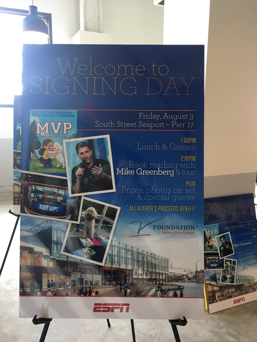 """Getting set for a fun afternoon in NYC with @Espngreeny and @StacyGSG at their """"MVP"""" book signing! #DontEverGiveUp"""