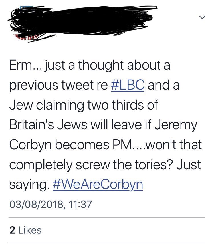 If you've spent any time at all in left wing politics, you've met at least one 'socialist' who'd be pathetically easy for a fascist to flip. Here's a Corbyn fan happily contemplating British Jews fleeing their own country out of fear of a Corbyn government. Just fucking saying.
