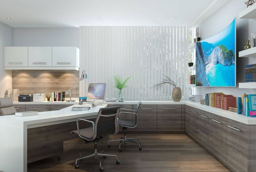 Here Is A Modern Executive Office In Contrasting High Gloss Melamine. We  Created A Large Counter Space Which Allows For Greeting Guests Or Coworker  ...