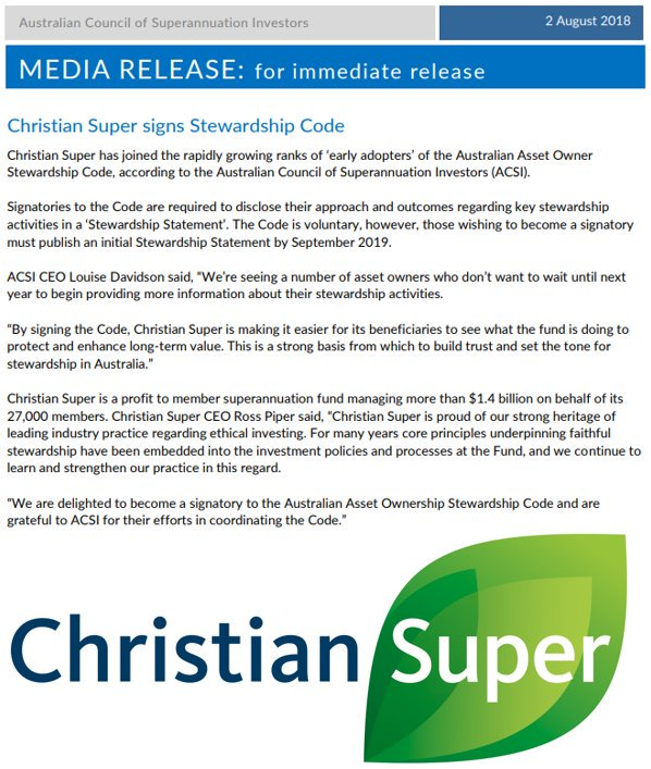 Christian Super has today joined the rapidly growing ranks of 'early adopters' of the Australian Asset Owner Stewardship Code. Congratulations on becoming a signatory @ChristianSupr! #activeownership #ESG  Read more here: https://t.co/7Qx375ZkJN via @ACSI_ESG
