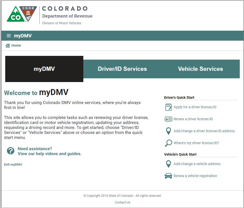 Colorado Dept Motor Vehicles