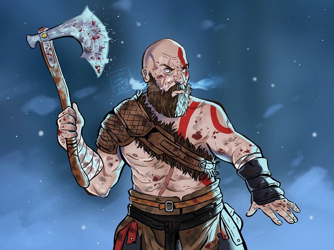 The Ghost of Sparta - finished Kratos fanart! Atreus is next ❄️ #GodofWar #PS4