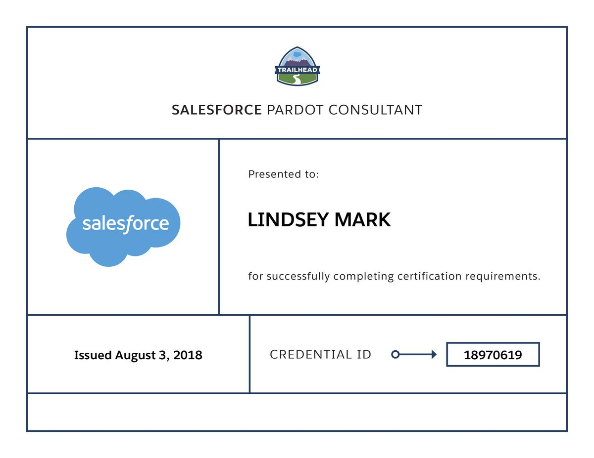 Lindsey Mark On Twitter Passed By Pardot Consultant Certification
