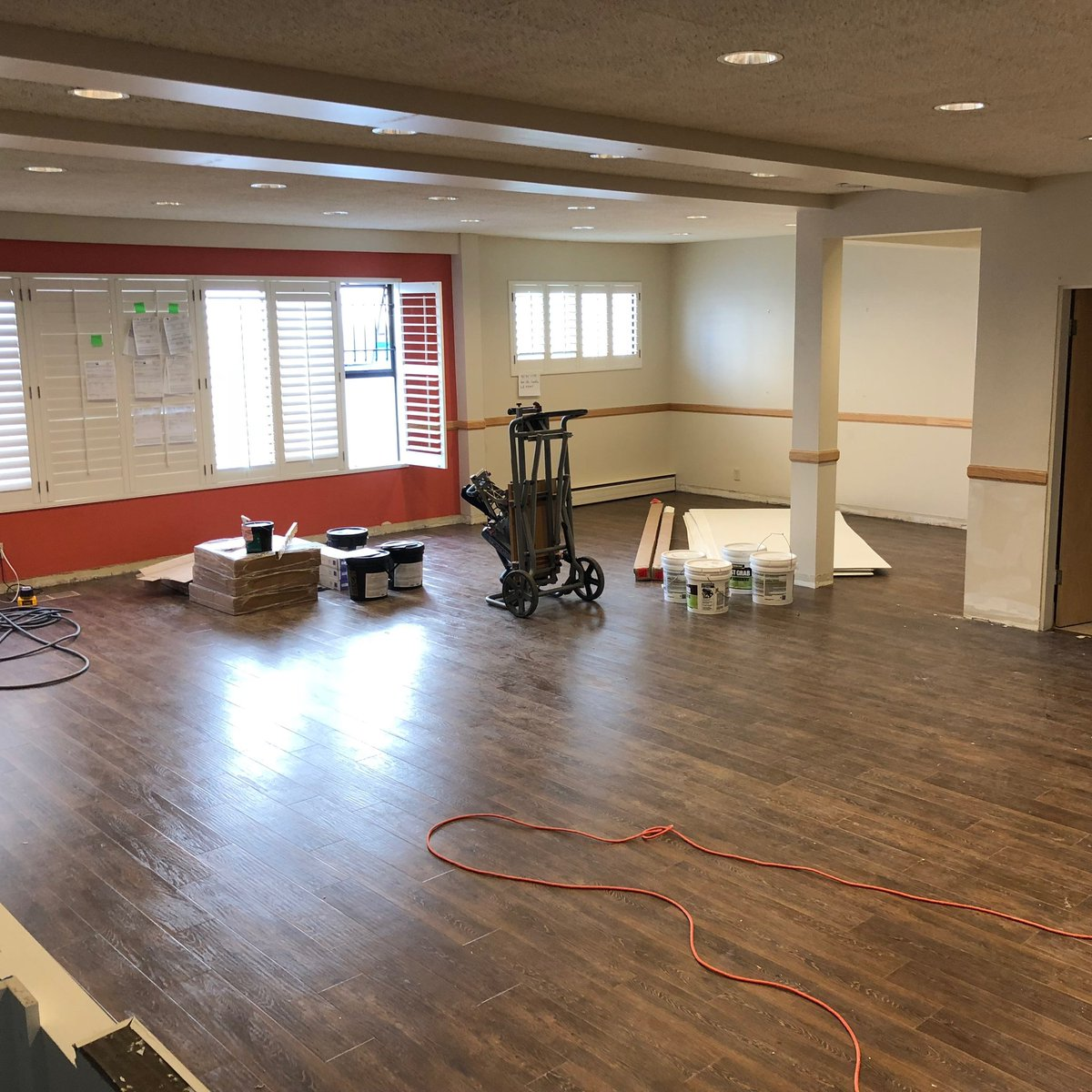 The Epoxy Floor And Commercial Walls Are Installed In Kitchen Meeting Room Has A New White Board For Study Group Work