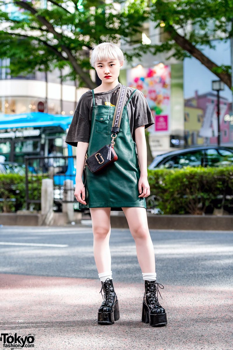 7fc8dfbae981 16-year-old japanese student shiori on the street in harajuku wearing an  x-girl dress over a zara t-shirt