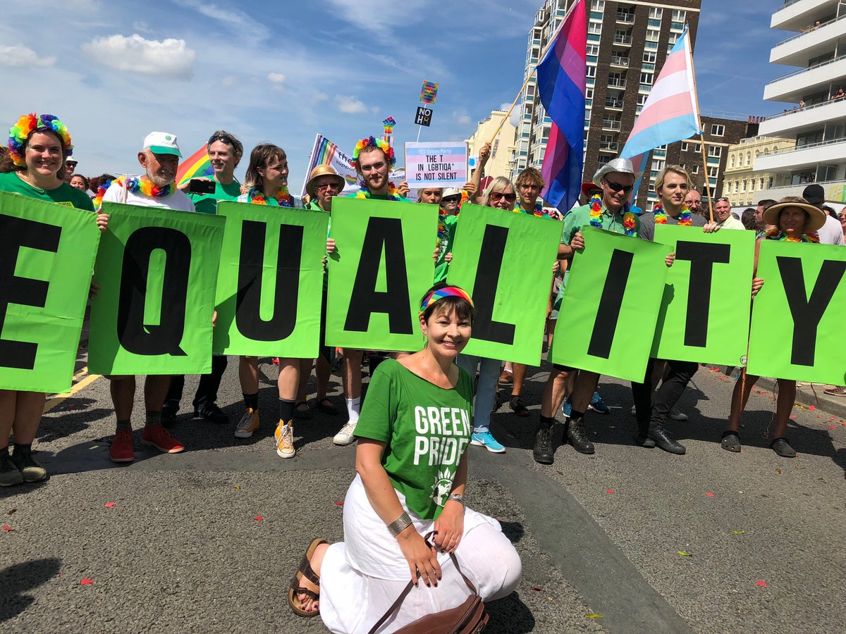With the amazing @bhgreens making the case for Equality - that's what Pride is all about! #Brightonpride