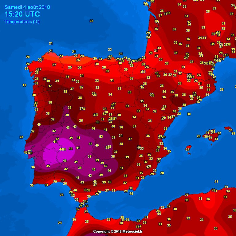 Map Of South West Spain.Severe Weather Eu On Twitter Temperatures Hit 45 C In South