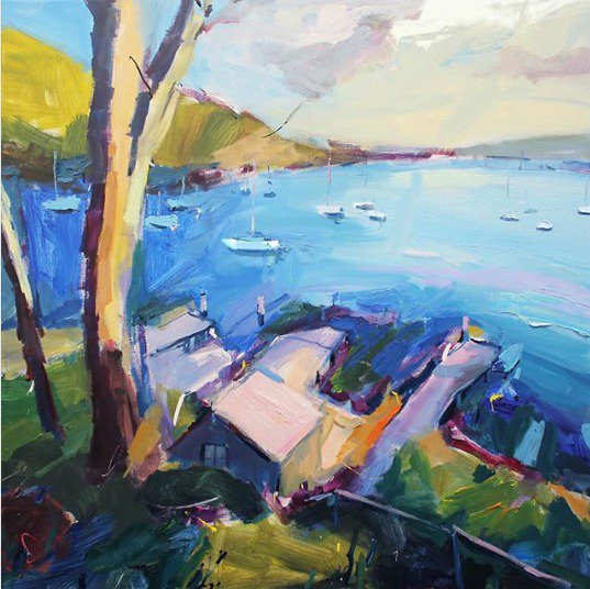"""Planes of light on the sheds. Boats punching holes on the bay. New #painting... """"Pittwater Boatsheds"""", 85X85cm, oil on linen. #landscape #painting #artgallery #design #abstract<br>http://pic.twitter.com/Whl8MJgzqv"""