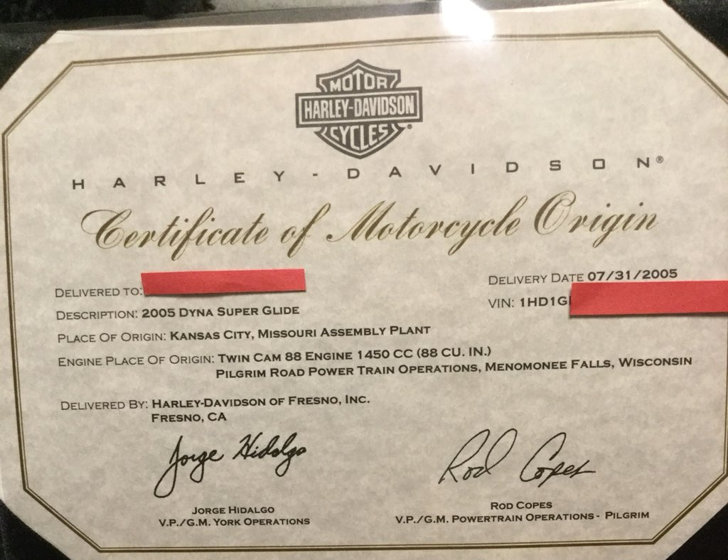 dating certificate motorcycle