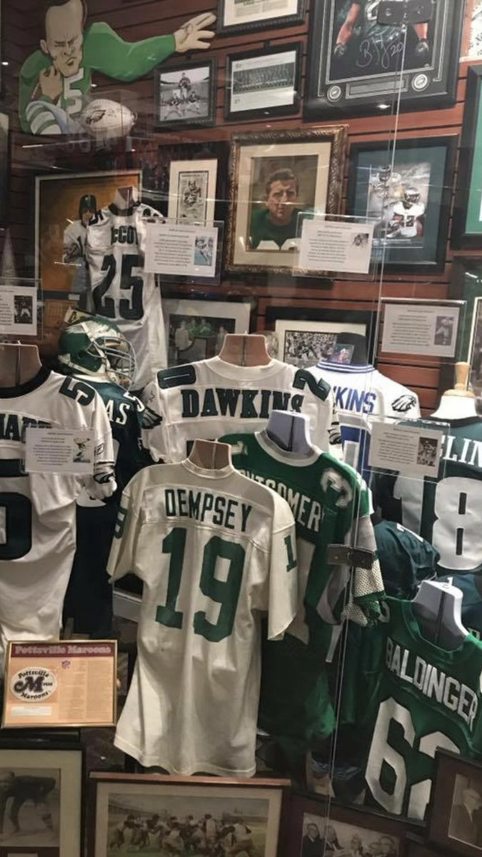 A few Dawk game-worn jerseys from the Museum of  Sports collection!  RETWEET and Follow @MuseumRick for info on our upcoming event  celebrating kickoff to the 2018 season and meet some of your favorite players! #FlyEaglesFly #Dawkins #NFLHOF