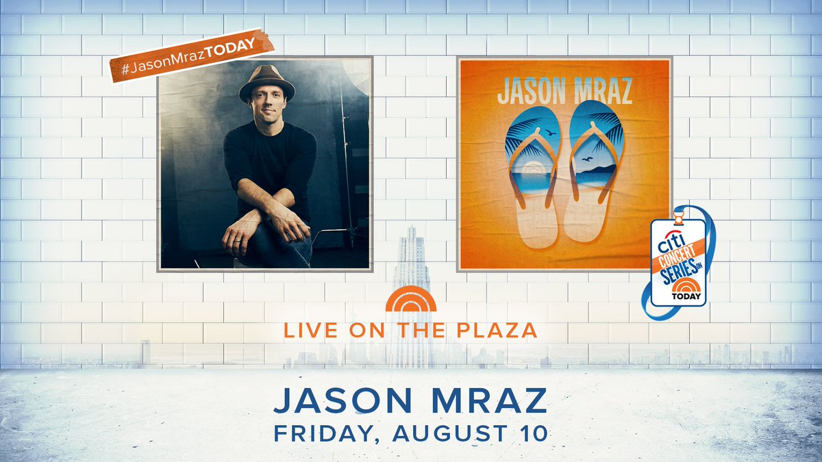 NYC. Friday, August 10. Join us on the Plaza! More info:  https://www. today.com/popculture/jas on-mraz-today-concert-what-you-need-know-t128134 &nbsp; …  #JasonMrazTODAY <br>http://pic.twitter.com/r732wuDxrI