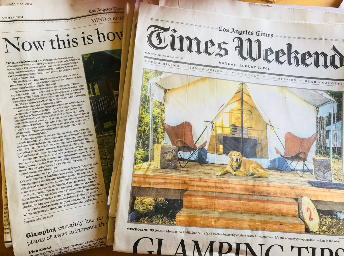 Los Angeles Times:#Glamping Tips - The #outdoors are calling, and we've got ideas for 'roughing it' in #stlye @latimes @latimeshealth #weekend cover story by @AleneDawson https://www.latimes.com/health/la-he-glamping-20180804-story.html?utm_source=dlvr.it&utm_medium=twitter… #health #wellness #travel #camping #gear #unplug #detox #California #roadtrip #nature