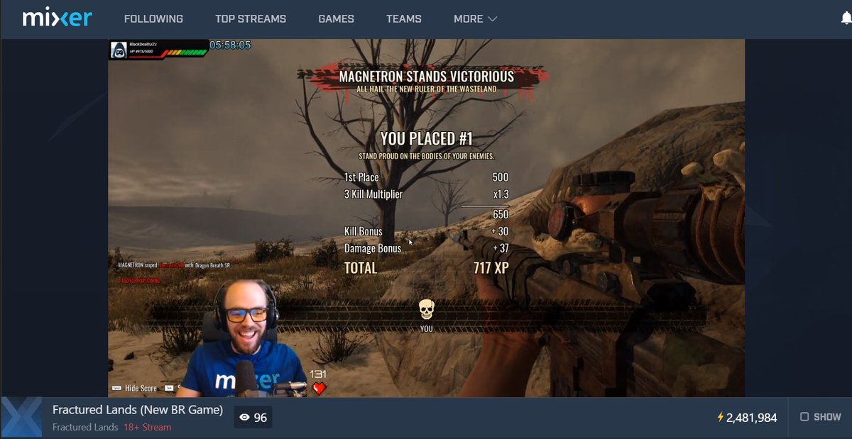 Congrats to @MAGNETRONPRO on his first #MixerSolos @FracturedLands #RulerOfTheWastelands win!  Come check out this #MadMax style #BattleRoyale here on @WatchMixer! http://mixer.com/Magnetron