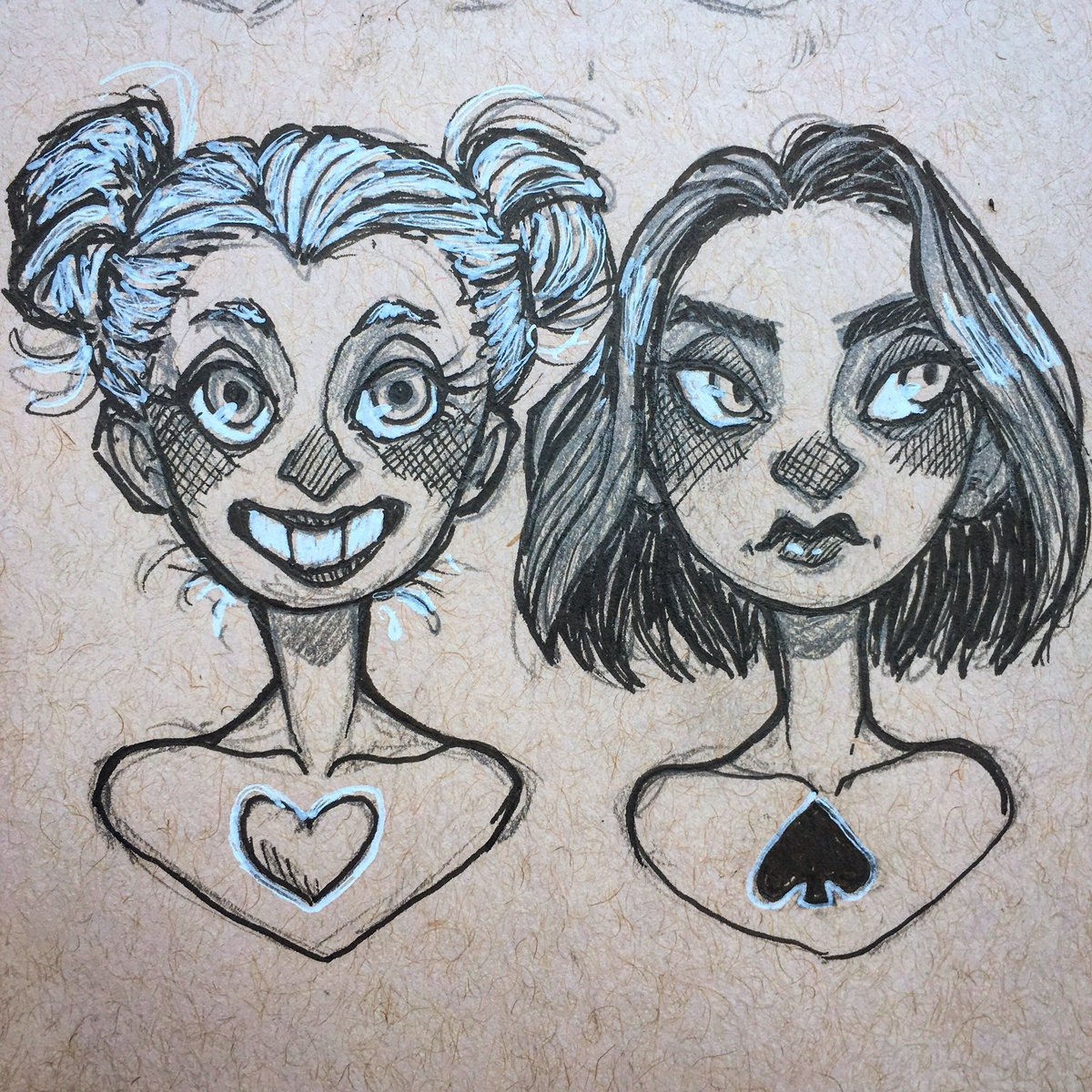Anna ferguson on twitter four of hearts and nine of spades for cutiesaturday art sketch drawing ink pencil doodle pen portrait heart spade