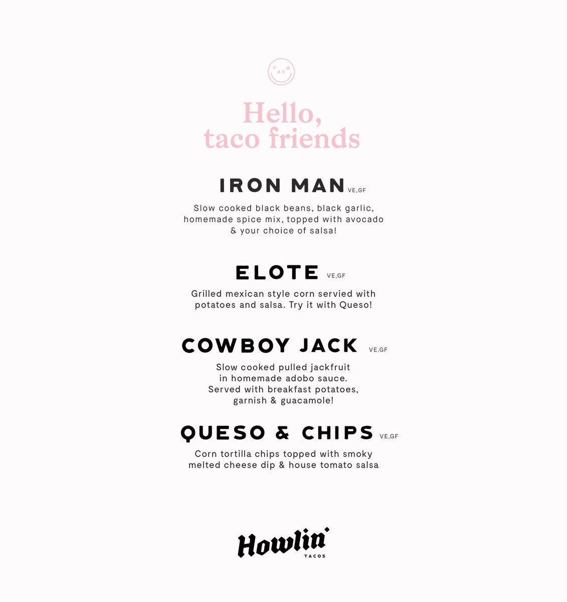 """GRUB on Twitter: """"🌱PLANT POWERED MENU ALERT🌱 HELLO TACO FRIENDS! As  promised here is tomorrow's taco menu from @howlintacos. Love these Tex Mex  bad boys ..."""