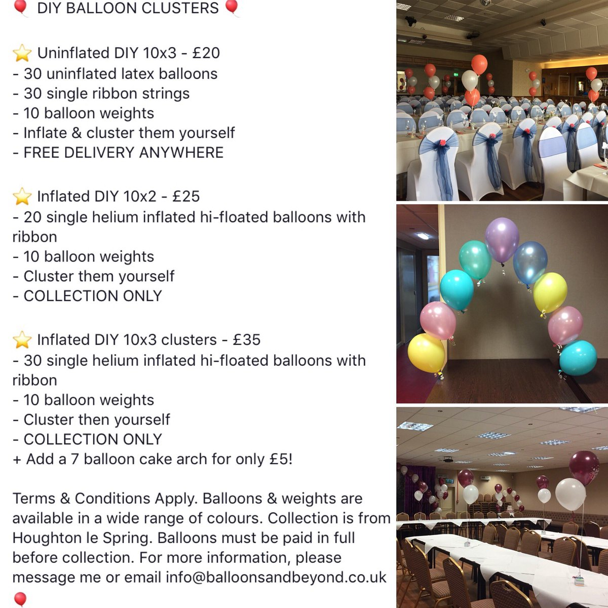Save money on good quality balloons by clustering them yourself & taking them to your venue! #balloons #balloonpackages #savemoney #deal #offer #money ...