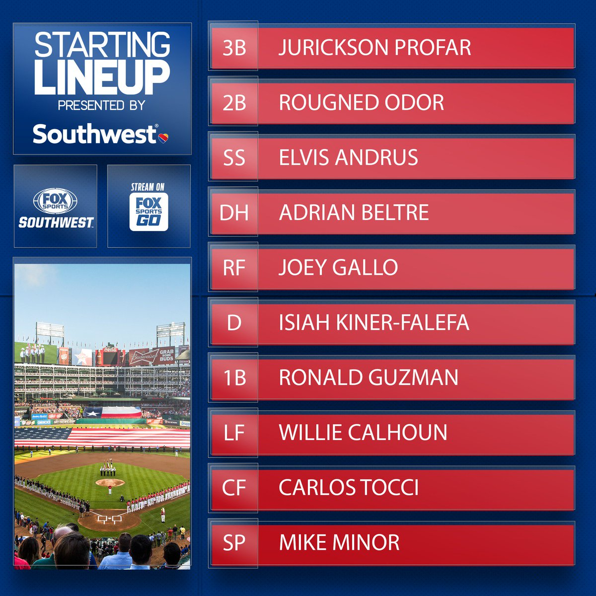 Take a look at the @Rangers lineup presented by the good folks at @SouthwestAir.  #SouthwestAIrlines | #TexasRangers