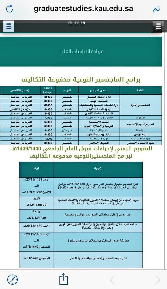 وافي بن عبد الله On Twitter 12 برنامج ماجستير نوعي تقدمه جامعة الملك عبدالعزيز برسوم مالية يبدأ التقديم عليها غدا الأحد هنا التفاصيل Https T Co M1nuukaqfx Https T Co Bzvn0fperj